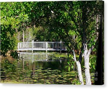 Canvas Print featuring the photograph Bridge On Lilly Pond by Lori Mellen-Pagliaro