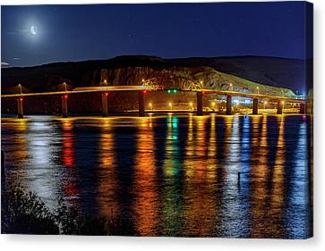 Canvas Print featuring the photograph Bridge Over Columbia Waters by Cat Connor