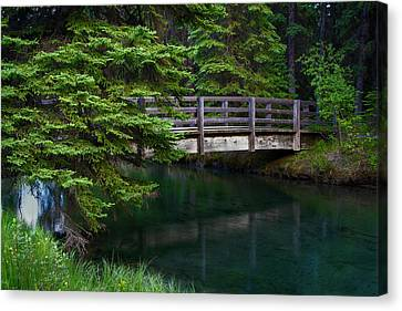 Canvas Print featuring the photograph Bridge Over Glacial Waters In Banff National Park by Dave Dilli