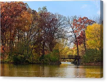 Bridge Over Herrick Lake Canvas Print by Joni Eskridge
