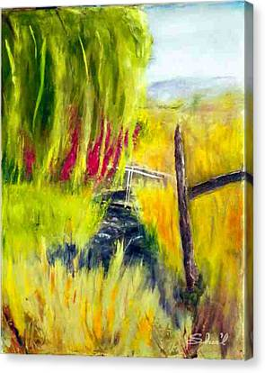 Canvas Print featuring the painting Bridge Over Small Stream by Sherril Porter