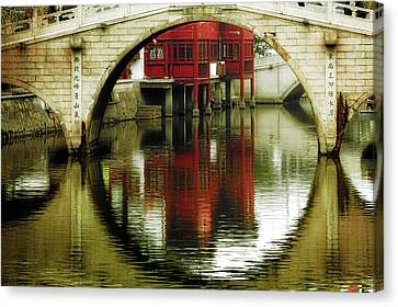 Bridge Over The Tong - Qibao Water Village China Canvas Print by Christine Till