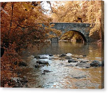 Bridge Over The Wissahickon At Valley Green Canvas Print by Bill Cannon