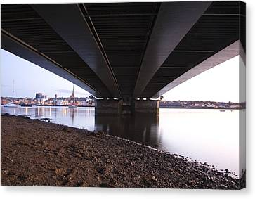 Canvas Print featuring the photograph Bridge Over Wexford Harbour by Ian Middleton