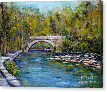 Bridge Over Wissahickon Creek Canvas Print by Joyce A Guariglia