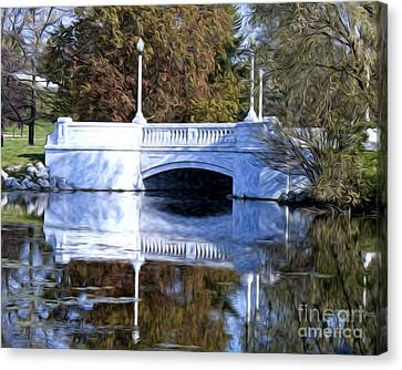 Canvas Print featuring the photograph Bridge Reflection by Anne Raczkowski