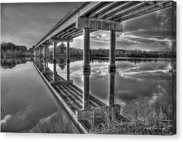 Bridge Reflections Black And White Bridge Art Canvas Print by Reid Callaway