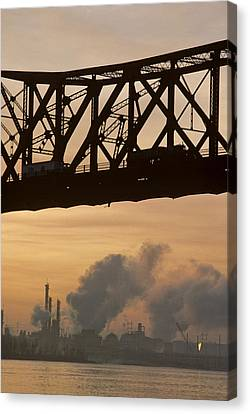 Bridge, River, And Skyline Full Of Air Canvas Print by Kenneth Garrett