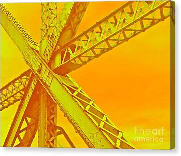 Train Crossing Canvas Print - Bridge Seeking by Gwyn Newcombe