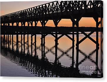 Bridge Silhouette At Dusk In Quinta Do Lago Canvas Print by Angelo DeVal