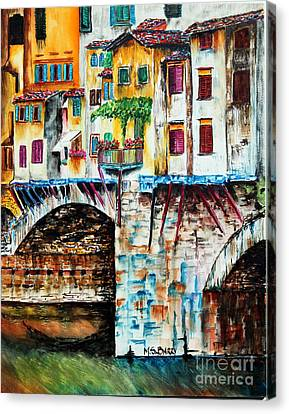 Canvas Print featuring the painting Bridge The Gap by Maria Barry