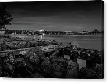 Bridge To Longboat Key In Bw Canvas Print