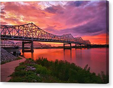 Bridges At Sunrise II Canvas Print by Steven Ainsworth