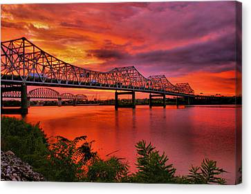 Bridges At Sunrise Canvas Print by Steven Ainsworth