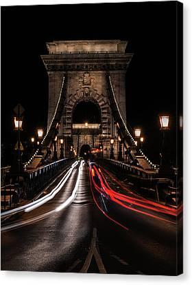 Canvas Print featuring the photograph Bridges Of Budapest - Chain Bridge by Jaroslaw Blaminsky
