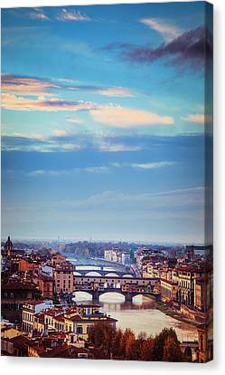 Tuscan Sunset Canvas Print - Bridges Of Florence by Andrew Soundarajan