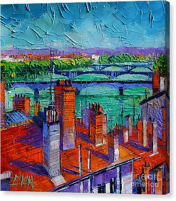 Bridges Of Lyon Canvas Print by Mona Edulesco