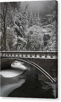 Bridges Of Multnomah Falls Canvas Print by Wes and Dotty Weber