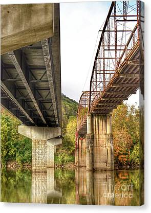 Bridges - Old And New Canvas Print by Kerri Farley