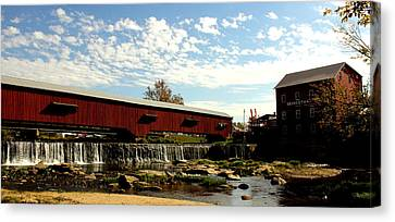 Bridgeton Covered Bridge And Mill By Earl's Photography Canvas Print by Earl  Eells a
