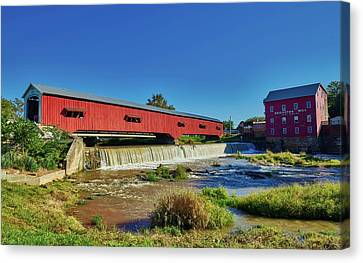 Bridgeton Covered Bridge And Mill Canvas Print by Mountain Dreams