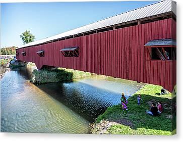 Bridgeton Covered Bridge Canvas Print by Denny Riffert