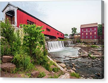 Old Mills Canvas Print - Bridgeton Indiana Mill And Covered Bridge by Gregory Ballos