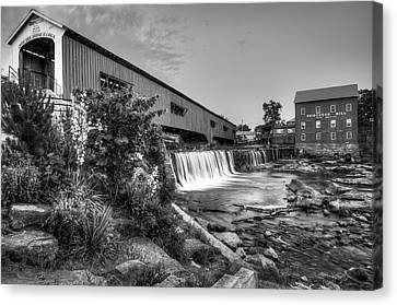 Old Mill Scenes Canvas Print - Bridgeton Mill And Covered Bridge - Indiana - Black And White  by Gregory Ballos