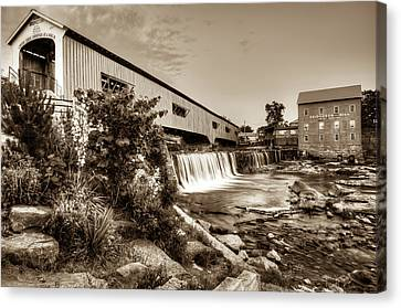 Bridgeton Mill And Covered Bridge - Indiana - Sepia Canvas Print by Gregory Ballos