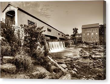 Bridgeton Mill And Covered Bridge - Indiana - Sepia Canvas Print