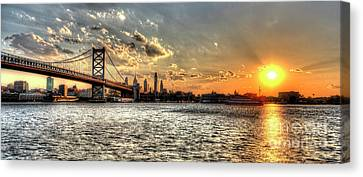 Bridging Two Cities. Philly Skyline View From Camden. Canvas Print by Mark Ayzenberg