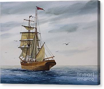 Tall Ship Canvas Print - Brigantine Making Sail by James Williamson