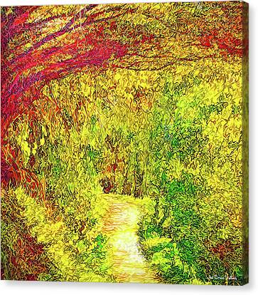 Canvas Print featuring the digital art Bright Afternoon Pathway - Trail In Santa Monica Mountains by Joel Bruce Wallach