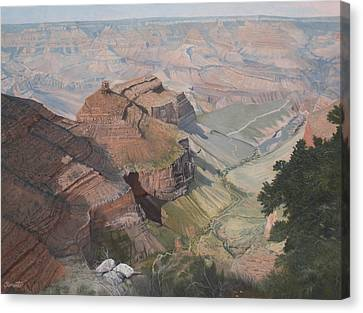Bright Angel Trail Looking North To Plateau Point, Grand Canyon Canvas Print