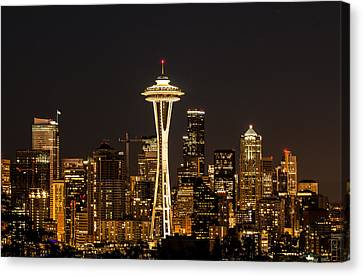 Bright At Night - Space Needle Canvas Print by E Faithe Lester