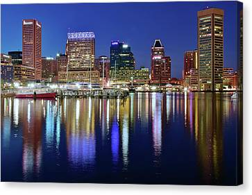 Bright Blue Baltimore Night Canvas Print by Frozen in Time Fine Art Photography