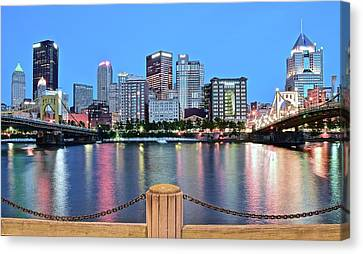 Upmc Canvas Print - Bright Blue Hour Pittsburgh by Frozen in Time Fine Art Photography