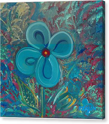 Canvas Print featuring the painting Bright Blue by John Keaton