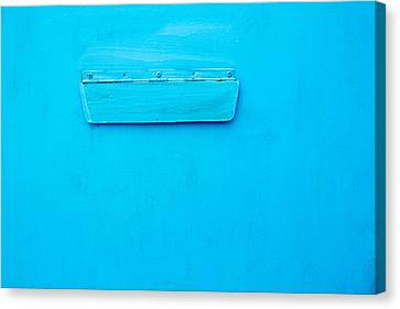 Canvas Print featuring the photograph Bright Blue Paint On Metal With Postbox by John Williams