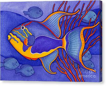 Fish Canvas Print - Bright Blue Triggerfish by Laura Nikiel