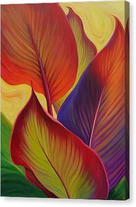 Bright Canna Leaves Canvas Print by Bonnie Hill