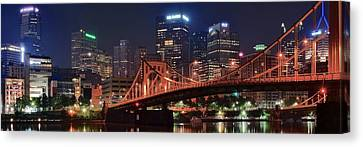 Bright City Night Canvas Print by Frozen in Time Fine Art Photography