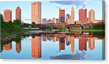 Bright Columbus Sky And Reflection Canvas Print by Frozen in Time Fine Art Photography