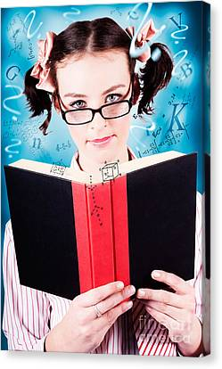 Bright Cute Girl Studying Education Textbook Canvas Print by Jorgo Photography - Wall Art Gallery
