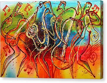 Avant Garde Jazz Canvas Print - Bright Jazz by Leon Zernitsky