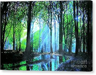 Canvas Print featuring the painting Bright Light In Dark Wood by Marie-Line Vasseur