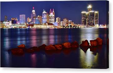Bright Lights In Detroit Canvas Print by Frozen in Time Fine Art Photography
