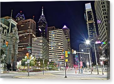 Bright Lights In Philly Canvas Print by Frozen in Time Fine Art Photography