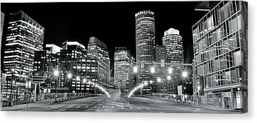 Bright Lights Lead Into Boston Canvas Print by Frozen in Time Fine Art Photography