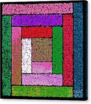 Bright Log Cabin Quilt Square Canvas Print